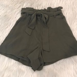 Forest green high waisted shorts